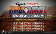 - Lynch Toyota Iron Bowl Car Giveaway