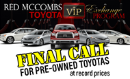 "- E-Mail Blast – Red McCombs Toyota ""Final Call"""
