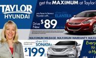 """- Newspaper Ad – Taylor Hyundai """"MAXIMUM"""""""