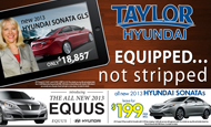 "- Newspaper Ad – Taylor Hyundai ""EQUIPPED"""