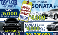 "- Newspaper Ad – Taylor Hyundai ""Final Clearance Event"""